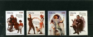 PALAU 2005 PAINTINGS BY NORMAN ROCKWELL SET OF 4 STAMPS MNH
