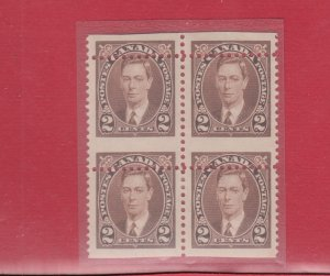 1937 issue #232 mis-perf block of 4 MH VF, Canada mint
