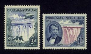 Rhodesia & Nyasaland Sc# 156-7 MLH Victoria Falls