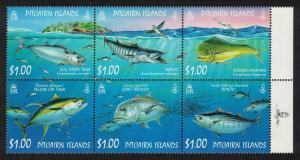 Pitcairn Tuna Dorado Trevally Ocean Fish Block of 6V SG#749-754