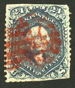 U.S. #78b USED STEEL BLUE/RED CANCEL