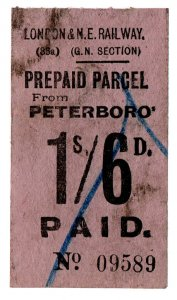 (I.B) London & North Eastern Railway (GN section) : Parcel 1/6d (Peterborough)