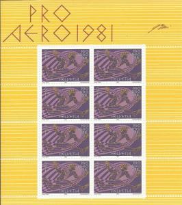 Switzerland - 1981 Swissair Anniversary - 8 Stamp Sheet - Scott #B479