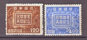 J22326 Jlstamp 1947 japan set mh #362-3 designs