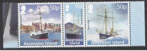 Ascension Island #1061 MNH stirp of 3, Quest, ship re Shackleton expedition 90th