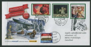 ZEPPELIN CHRISTMAS COVER 2016 - THREE COUNTRIES STAMPS + MAILING SEAL USED