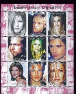 JENNIFER ANISTON + BRAD PITT - Mini Sheet of 9 MNH Kyrgyzstan - E30