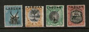 Malaya S. Setts. Labuan 1894 SG 63,64a,65,67 MH
