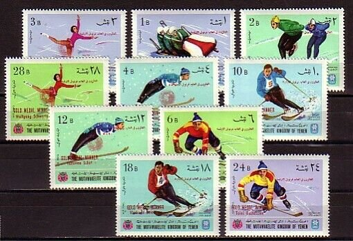 Yemen, Kingdom, MI cat. 464-473 A.Winter Olympics issue o/printed. *
