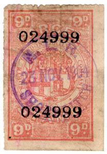 (I.B) North London Railway : Parcel Stamp 9d (Shoreditch)
