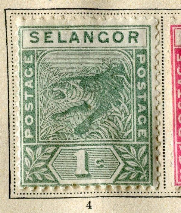 MALAYA SELANGOR;  1891 early classic Tiger issue Mint hinged 1c. value