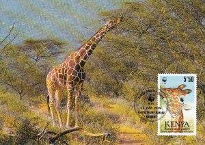 Kenya 1989 Maxicard Sc #494 5.50sh Reticulated giraffe WWF