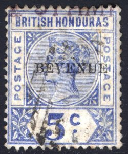 Br Honduras 1899 5c Blue BEVENUE Scott 48a SG 66a VFU Cat $175