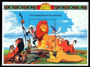 UGANDA - 1994 - DISNEY - THE LION KING - CHARACTERS - GROUP + MINT MNH S/SHEET!