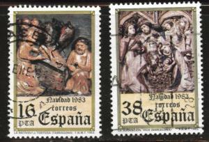 SPAIN Scott 2355-2356 Used 1983 Christmas set