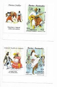 URUGUAY 2008 NACIONAL FESTS FOLKLORE  MUSIC DANCE CARNAVAL GAUCHOS UPAEP MNH