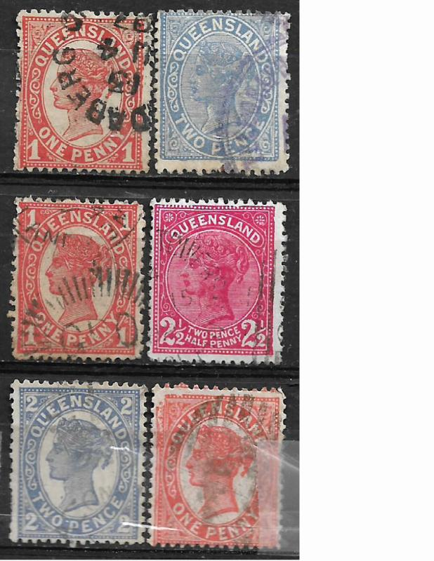 COLLECTION LOT OF 11 QUEENSLAND STAMPS CLEARANCE 2 SCAN