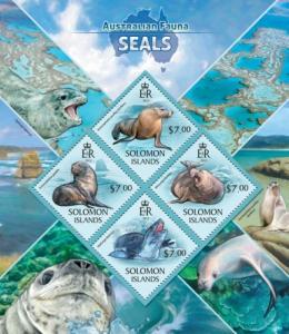 SOLOMON ISLANDS 2013 SHEET SEALS MARINE LIFE slm13416a