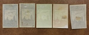 Germany 1913 Darmstadt Air Show 5 Cinderellas Poster Stamp labels w/  biplanes