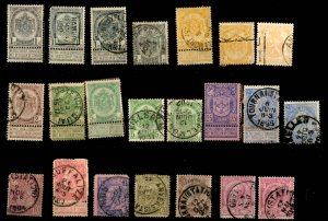 Early Belgium Assortment - 111 Stamps, Cancels, Color Variations - See Scans