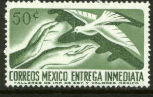 MEXICO E18 50cts 1950 Def 8th Issue Fosforescent glazed MNH