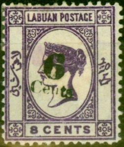 Labuan 1891 6c on 8c Deep Violet SG34 Fine Mtd Mint