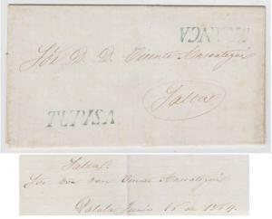 BOLIVIA 1864 PRESTAMP ELS DATED IN PALALA (RARE) TUPISA, FRANCA S/L TO SALTA