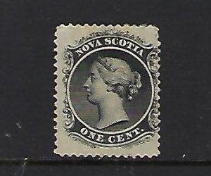 NOVA SCOTIA SCOTT #8 1860-63 VICTORIA 1 CENT (BLACK)- MINT OG (ADHERENCEE)