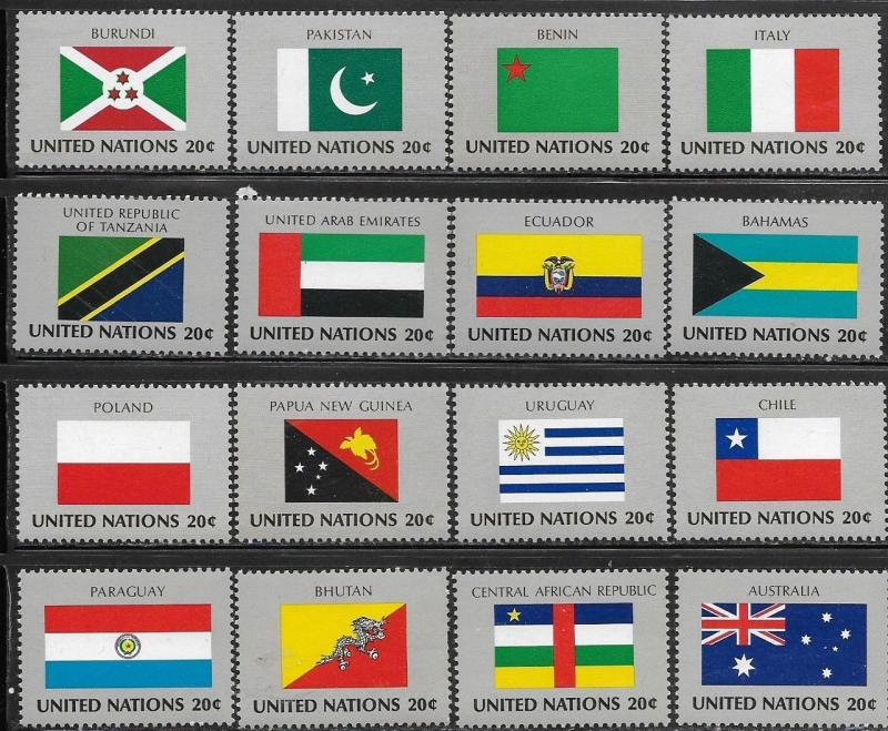 United Nations 1984 New York Flags of the Member Nations SC# 425-440 MNH