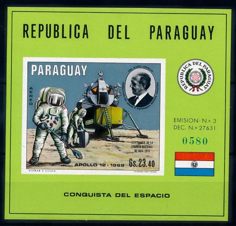 [66078] Paraguay 1970 Space Travel Weltraum Imperf. Sheet MNH