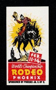 WORLD'S CHAMPIONSHIP RODEO - PHOENIX AZ FEB. 11-14, 1937 COWBOY ON BUCKING HORSE