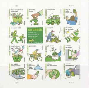 US Stamp - 2011 Go Green - Sheet of 16 Forever Stamps - Scott #4524