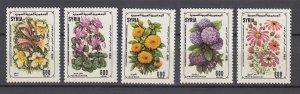 J28847, 1990 syria set mnh #1196-1200 flowers