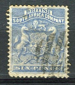 RHODESIA: 1890-92 early classic Springbok issue used Shade of 6d. value