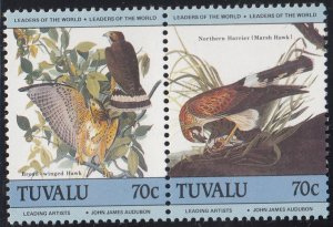 Tuvalu 1985 MNH Sc #282 70c Broad-winged hawk, Northern harrier - Birds by Au...