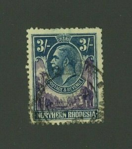Northern Rhodesia 1925 3sh George V, Scott 13 used, Value = $28.00