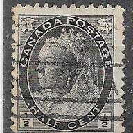 Canada #74  1/2c Queen Victoria black  (U) CV $2.75