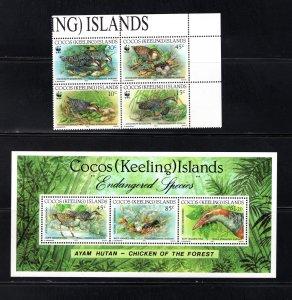 Cocos Islands 262-263,  VF, MNH, Endangered Wildlife, CV $13.25   ..... 1420024
