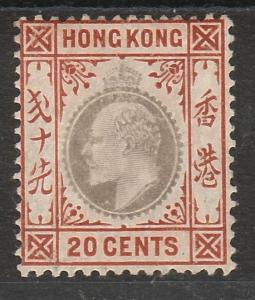 HONG KONG 1904 KEVII 20C WMK MULTI CROWN CA