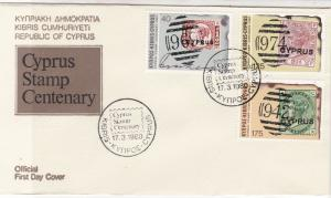 Cyprus 1980 Cyprus Stamp Centenary Slogan Cancels FDC Stamps Cover Ref 27660