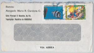 FISH birds DOVES -- HONDURAS -  POSTAL HISTORY -  COVER to ITALY 1986