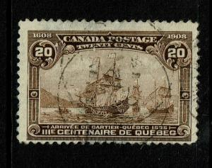 Canada SC# 103, Used, Hinge Remnant, top margin thin, see notes - S6791