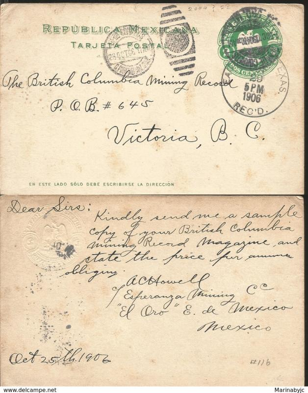 J) 1906 MEXICO, MEXICAN REPUBLIC, EAGLE, 2 CENTS, POSTCARD, POSTAL STATIONARY, C