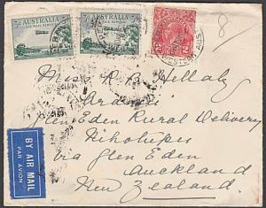 AUSTRALIA 1934 airmail cover Perth via Melbourne to New Zealand............55125