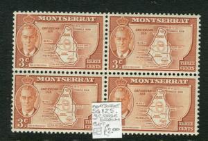 MONTSERRAT; 1950s early GVI issue fine Mint MNH 3c. Block of 4