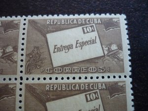 Stamps - Cuba - Scott# E12 - Mint Hinged Block of 4 Special Delivery Stamps