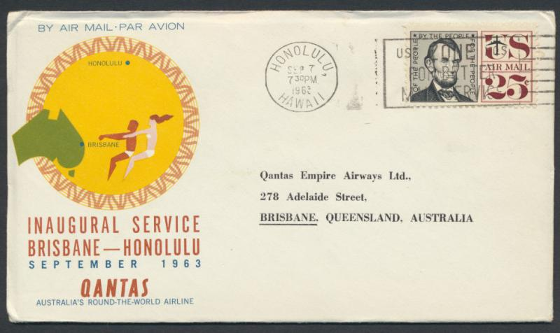 1963 Qantas First Flight Cover - Honolulu Brisbane AAMC 1493 SPECIAL - please...