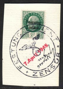 FRANCE 441 GERMANY OCC FESTUNG LORIENT LOCAL OVERPRINT ZENSUR CDS ON PIECE