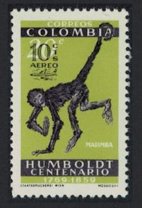 Colombia Marimba Long-haired Spider monkey 1v Overprint SG#1079 SC#C413