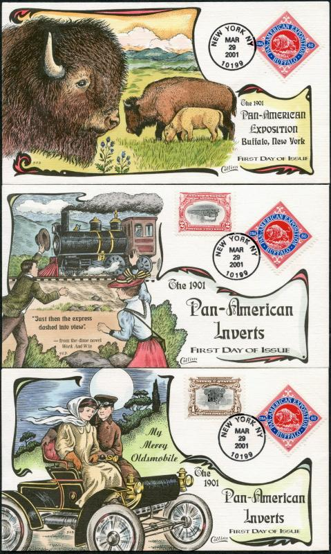 #3505a-d PAN-AM EXPO (4) DIFFERENT COLLINS FDC CACHET HAND PAINTED BP7486
